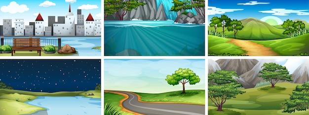 Zestaw scen przyrodniczych, dzień, noc, miasto wiejskie i naturalne