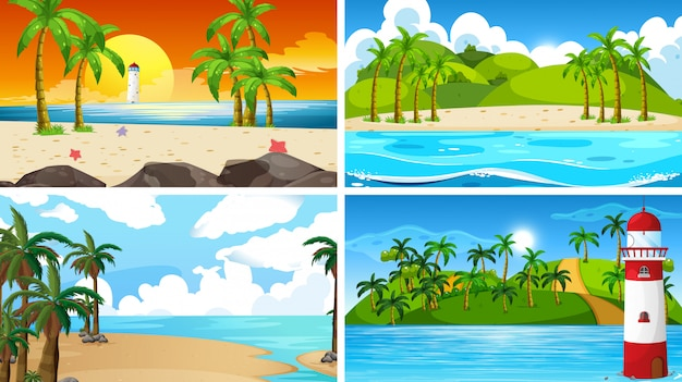 Zestaw scen przyrody tropikalnych oceanów z plażami