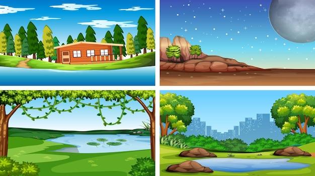 Zestaw scen przyrody w dzień i w nocy