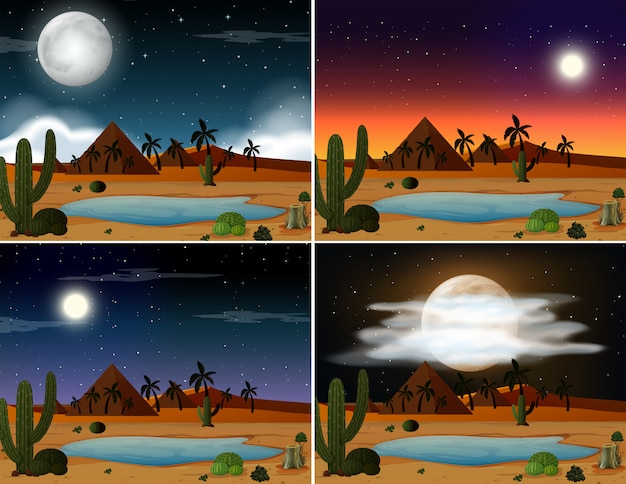 Zestaw scen pustynnych ilustracji