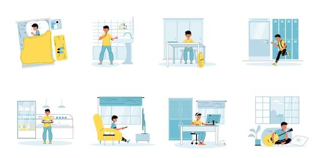 Zestaw scen rutynowych czynności codziennego życia małego ucznia.