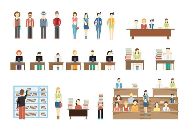 Zestaw scen studenckich na uniwersytecie