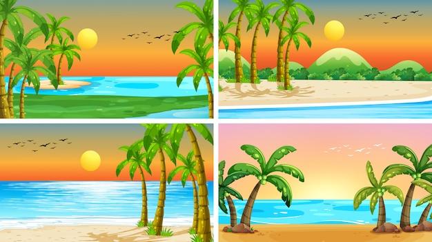 Zestaw scen tropikalnych oceanów z plażami