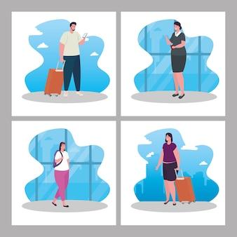 Zestaw scen, turystów z bagażem w terminalu lotniska