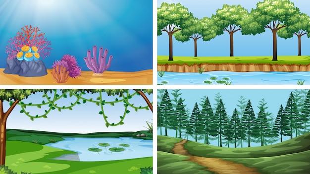 Zestaw scen w otoczeniu przyrody lub w tle