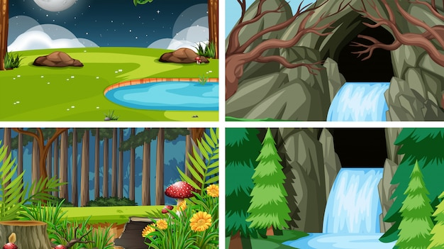 Zestaw scen w otoczeniu przyrody