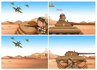 Zestaw scen wojskowych i wojennych