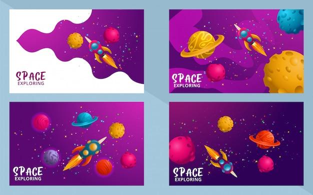 Zestaw scen. wszechświat. przestrzeń. podróż w kosmosie. projekt. ilustracji wektorowych