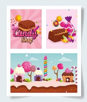 Zestaw scen z cukierkami