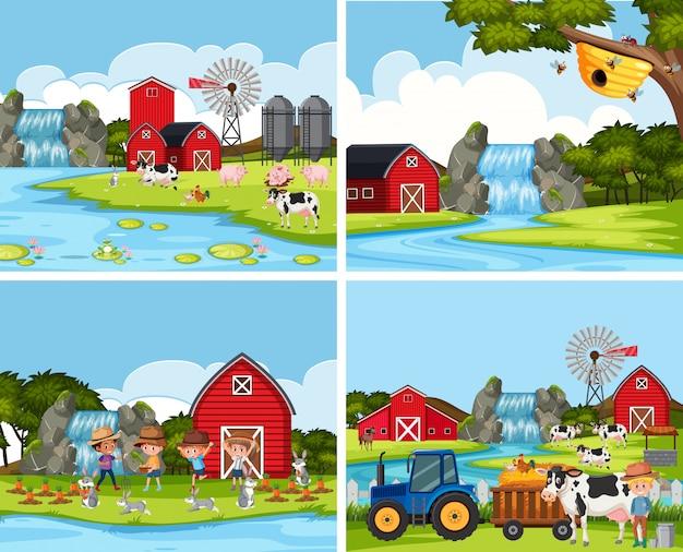 Zestaw scen z farmy