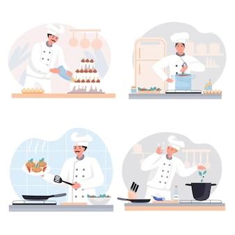Zestaw scen z gotowaniem w restauracji