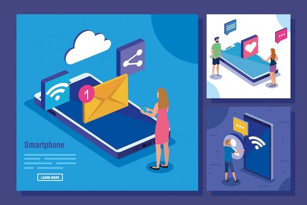 Zestaw scen z ikonami smartfona i mediów społecznościowych
