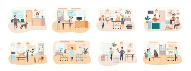 Zestaw scen z kliniki weterynaryjnej przedstawiający sytuację postaci płaskich ludzi
