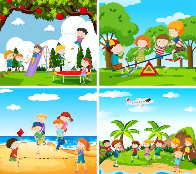 Zestaw sceny dzieci bawiących się