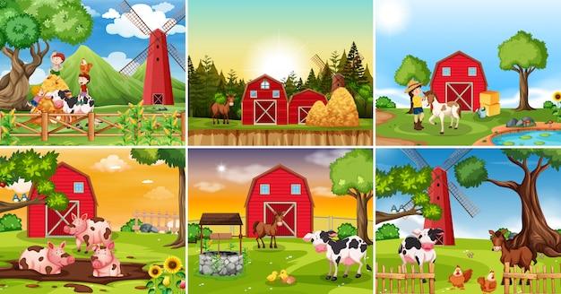Zestaw sceny gruntów rolnych