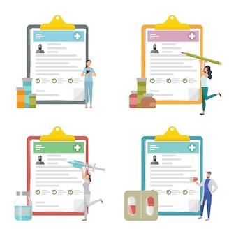 Zestaw schowka medycznego, dokumentacja kliniczna, raport medyczny.