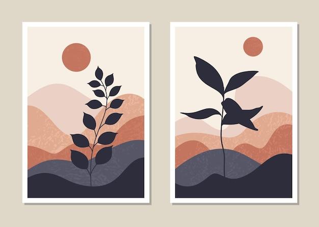 Zestaw ścienny krajobraz sztuki. abstrakcyjny krajobraz