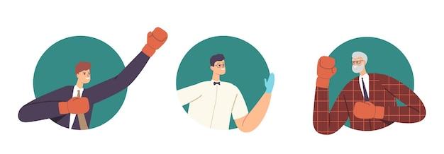 Zestaw sędziego i argumentując, że biznesmeni znaków walki. niezgoda, mężczyźni przygotowują się do walki. biznesowy konkurs o przywództwo, wyzwanie, inny punkt widzenia. ilustracja wektorowa kreskówka ludzie