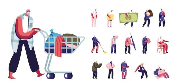 Zestaw seniorów styl życia męskich postaci, bezdomny stary człowiek z kosza w wózku, mały emeryt z ogromnym rachunkiem, słodycze, pędzel na białym tle. ilustracja wektorowa kreskówka ludzie