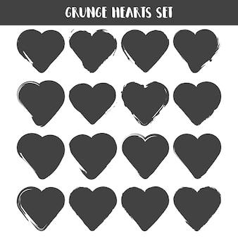 Zestaw serc. kolekcja znaczków grunge. miłość kształty