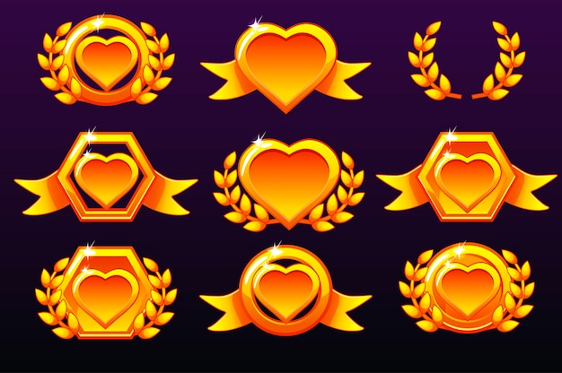 Zestaw serc. złote szablony nagród, tworzenie ikon do gier mobilnych.
