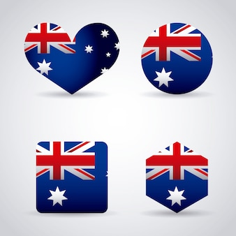 Zestaw serca, koła i kształty z flagą australii