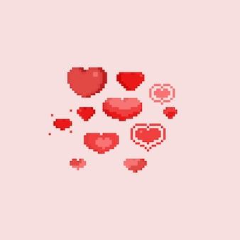Zestaw serce pikseli. walentynki.