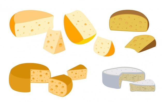 Zestaw serów. kolekcja serów kreskówek. mleczarnia. rodzaje serów ilustracja płaski nowoczesny styl. ikony na białym tle.