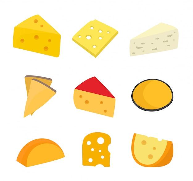 Zestaw serów płaski postać z kreskówki ilustracyjny projekt. pojedynczo na białym tle. inny rodzaj sera