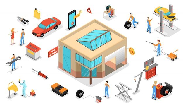 Zestaw serwisowy samochodu. ludzie naprawiają samochód za pomocą profesjonalnego narzędzia. mechanik w jednolicie naprawionym silniku. diagnostyka samochodowa w warsztacie. ilustracja izometryczna