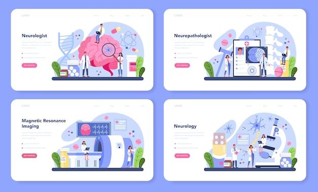 Zestaw sieci web banerów neurologa