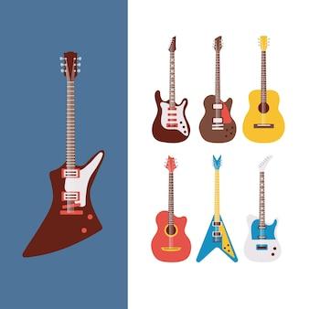 Zestaw siedmiu gitar