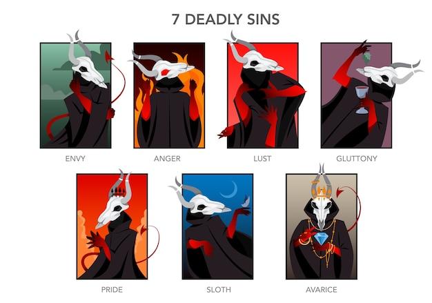 Zestaw siedmiu grzechów głównych. chrześcijański charakter biblijny. gniew, zazdrość, pożądanie i głośność. duma, lenistwo i chciwość. ilustracja.