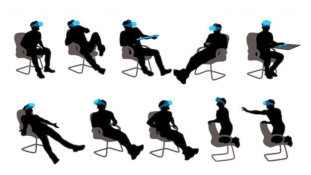 Zestaw siedzącego mężczyzny vr