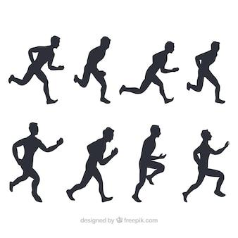 Zestaw silhouettes biegaczy