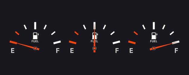 Zestaw skal wskaźników paliwa. miernik paliwa. wskaźnik paliwa. wskaźnik zbiornika gazu. miernik słupkowy poziomu oleju w zbiorniku. kolekcja prędkościomierza wskaźnika paliwa na białym tle