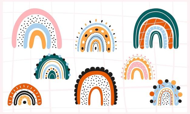 Zestaw skandynawskich tęczy z ornamentami kolorowy, nowoczesny zestaw z abstrakcyjnymi ikonami tęczy