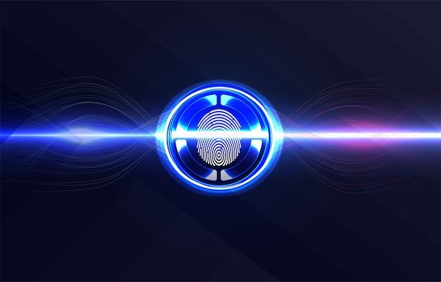 Zestaw skanerów identyfikacyjnych. skanowanie palca w futurystycznym stylu. identyfikator biometryczny z futurystycznym interfejsem hud.