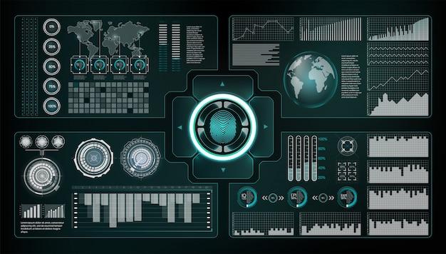 Zestaw skanerów weryfikacyjnych. skanowanie odcisków palców w futurystycznym stylu. identyfikator biometryczny z futurystycznym interfejsem hud. szablon tła monitora ekranu. ilustracja koncepcja technologii skanowania. identyfikacja