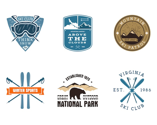 Zestaw ski club, etykiety parku narodowego. odznaki badacz camping zima vintage mountain. projekt logo przygody na świeżym powietrzu. kolorowe insygnia podróżne i hipster. symbol ikony snowboardowe. pustynia.