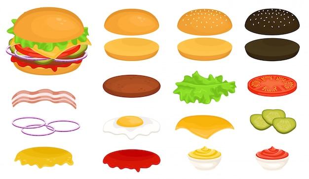 Zestaw składników do burgera. uzupełnij swojego burgera. ilustracja fast foodów.