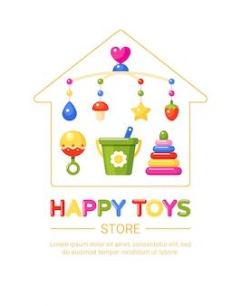 Zestaw sklep z zabawkami dla dzieci. grzechotka, zabawkowa piramida, wiadro i łóżeczko muzyczne