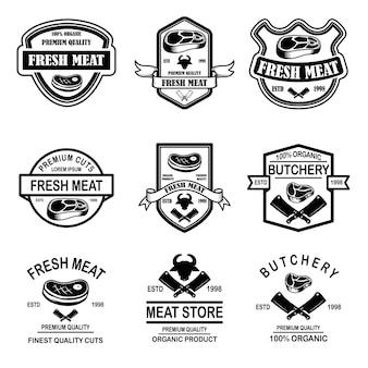 Zestaw sklepu mięsnego, emblematy rzeźni