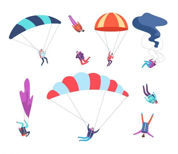 Zestaw skoczków. ludzie skaczący ze spadochronami. niebezpieczne sportowe niebo skoczków, spadochroniarzy postaci z kreskówek wektor