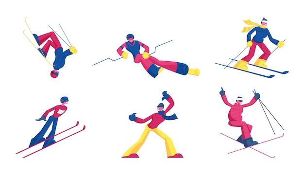 Zestaw skoków narciarskich w stylu dowolnym sportowców. sporty zimowe połączenie narciarstwa i akrobacji akrobatycznych. płaskie ilustracja kreskówka