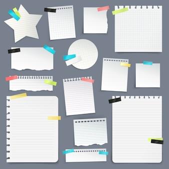Zestaw skrawków papieru i czystych arkuszy