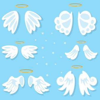 Zestaw skrzydeł anioła. kreskówka na białym tle na niebieskim tle.