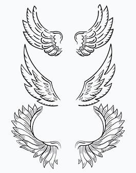 Zestaw skrzydeł. kolekcja czarno-białych skrzydełek do clipartów. streszczenie skrzydła anioła.