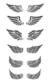 Zestaw skrzydeł na białym tle. elementy projektu logo, etykiety, godła, znak, znak marki.