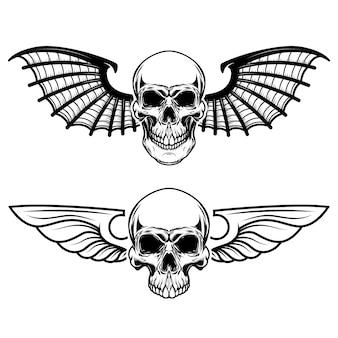 Zestaw skrzydlatych czaszek. czaszka ze skrzydłami nietoperza. elementy logo, etykiety, godła, znaku, koszulki. ilustracja